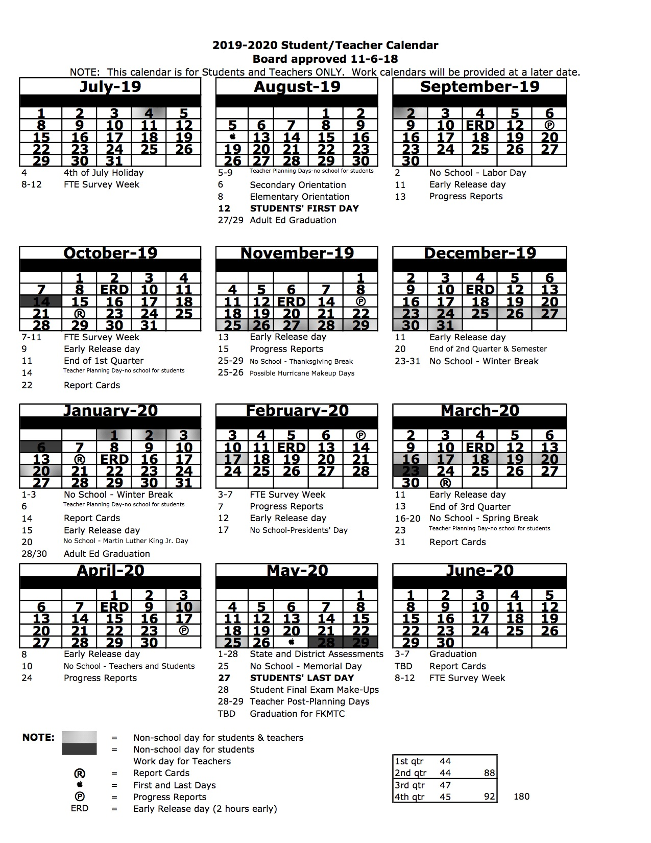 miami dade 2020 and 2020 school calendar